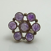 Large Sterling Silver Cape Amethyst Ring Size 6 3/4