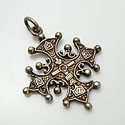 Vintage Sterling Silver Cini Cross Charm Pendant