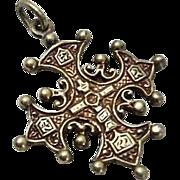 Vintage Sterling Silver Cini Cross Charm Pendant