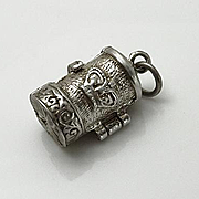 Vintage Sterling Silver Movable English Post Box  Opens to reveal  Postman Charm