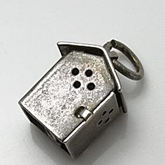 Vintage Sterling Silver Mechanical Moving Outhouse Hinged Door Charm Man Inside!