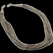 Vintage Indian Liquid Sterling Silver Necklace 50 Strands