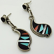Vintage Indian Sterling Silver Inlaid Onyx Turquoise Coral Mother of Pearl Earrings  Signed