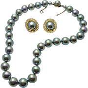 Majorica Faux Tahitian Pearls Choker Necklace Big Beads Earring Set