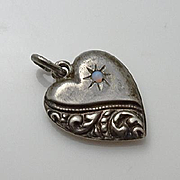Vintage  Sterling Sterling Opal Puffy Heart Charm