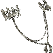 Vintage Sterling Silver Chatelaine Pin Dancing Kissing Couples