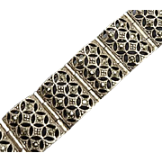 Vintage Sterling Silver Marcasite Open Work Bracelet