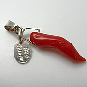 Sterling Silver Coral Horn Pendant