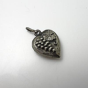 Vintage Sterling Silver Puffy Heart Grapes Charm Pendant