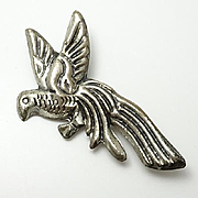 Early Vintage Mexican Coro Sterling Silver Bird Pin Big!