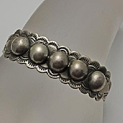 Early Vintage Indian Coin Silver Cuff Bracelet