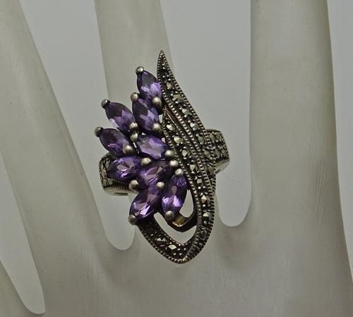 Vintage Sterling Silver Amethyst Marcasites Cluster Ring Long  Face Size 6