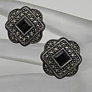 Vintage Sterling Silver Marcasite Onyx Earrings Judith Jack