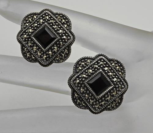 Vintage Sterling Silver Marcasite Onyx Earrings Judith Jack