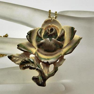 Vintage Hand Carved Painted Bone Flower Necklace