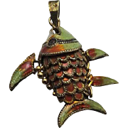Vintage Gold Wash Sterling Silver Articulated Wiggle Fish Pendant Charm