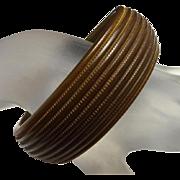 Vintage Wide Bakelite Carved Painted Brown Bangle Bracelet