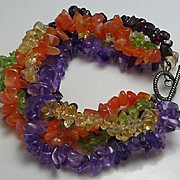 Colorful Sterling Silver Gemstone Bracelet Amethyst Garnet Plus