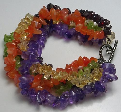 Colorful Sterling Silver Gemstone Bracelet Amethyst Garnet Plus