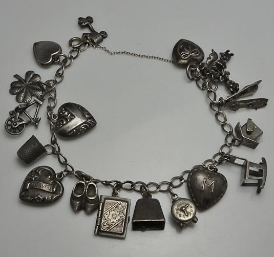 Vintage Sterling Silver Charm Bracelet Older Great Charms Moving Mechanical Puffy Heart 1940s
