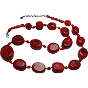 Sterling Silver Chunky Red Coral Statement  Barse Necklace