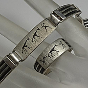 Unique Mens Mans Men's  Hunter Sterling Silver Bracelet Ring Set