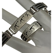 Unique Mens Mans Men's  Hunter Sterling Silver Bracelet Ring Set
