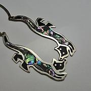 Vintage Mexican Alpaca Enamel  Abalone Shell Cat Necklace Cute!