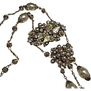 Vintage Unsigned Miriam Haskell  Faux Pearl Necklace