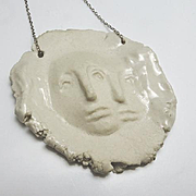 Unique Artisan Ceramic Modernist Face Pendant Sterling Silver Necklace