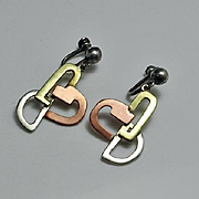Modernist Abstract Sterling Silver Mixed Metal Screw On Earrings
