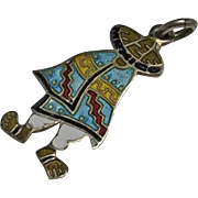 Colorful Mexican Sterling Silver Enamel Charm Pendant