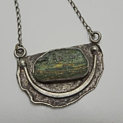 Vintage Israel Sterling Silver Modernist Ancient Glass Necklace Pendant