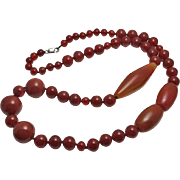 Huge Sterling Silver Carnelian Bead Necklace over 31 inches!