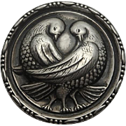 Large Vintage Patented Sterling Silver Love Bird Pin
