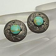 Vintage Sterling Silver Turquoise Bird Earrings
