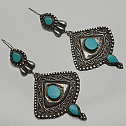Long Vintage  3 INCH Persian Turquoise Sterling Silver Earrings