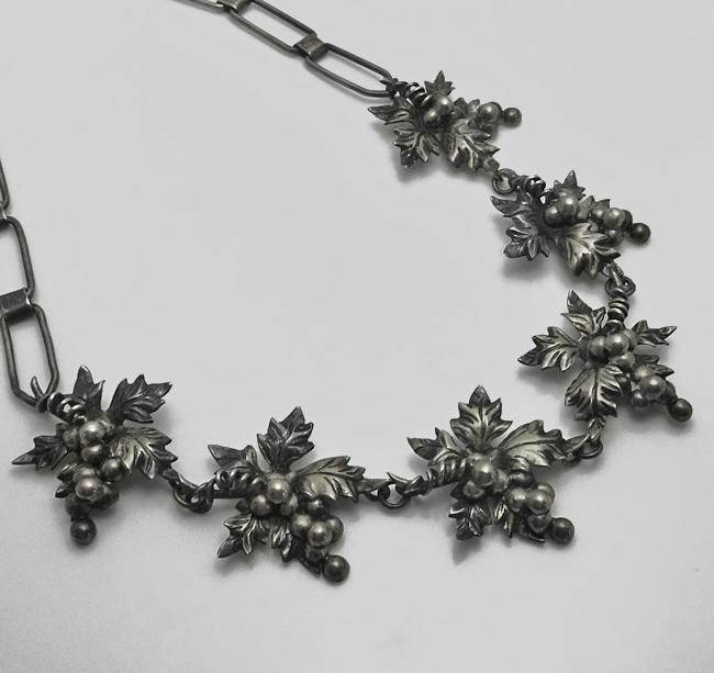 Early Vintage Mexican  Sterling Silver Grape Necklace Stunning