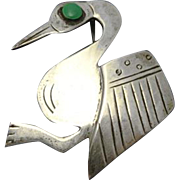 G.Laffi Peruvian Peru  Sterling Silver Enamel Pin Bird Stork?