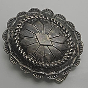 Vintage Navajo Indian Well Tooled Conch Sterling Silver Belt Buckle Adam & Rita Teller Navajo (De Chelly)