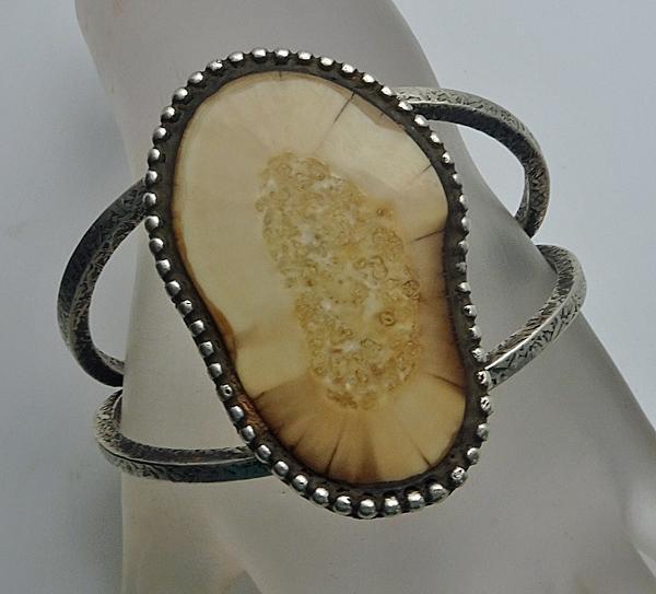 Handmade Vintage Sterling Silver Bone Cuff Bracelet Brutalist Look