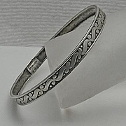 Vintage  Bangle Bracelet Sterling Silver S Design