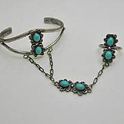 Vintage Southwestern Turquoise Sterling Silver Slave Bracelet