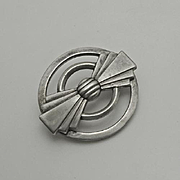 Vintage Art Deco Sterling Silver Geometric Pin Brooch