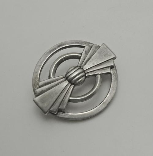 Vintage Art Deco Sterling Silver Geometric Pin Brooch