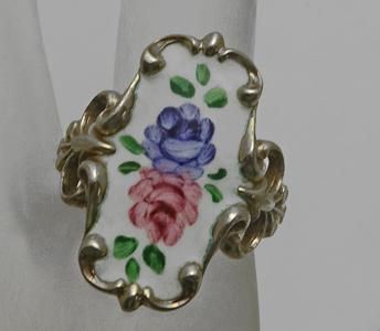 Vintage Sterling Silver Enamel Clark & Coombs Floral Flower Ring Size 8