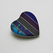 Mexican Sterling Silver Inlay Stone Heart Pendant Lapis Turquoise Sugilite Azurite Malachite