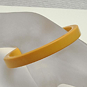 Vintage Yellow Bakelite Spacer Bangle Bracelet
