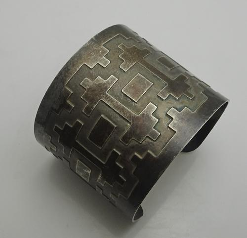 Wide Vintage Sterling Silver Geometric Design Cuff Bracelet Mens Men's Mans