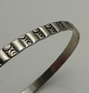Fancy Vintage Danecraft Bangle Bracelet Sterling Silver